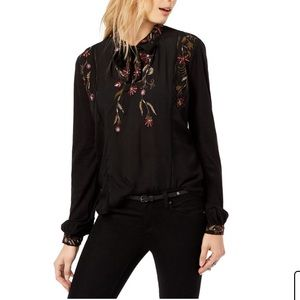 Lucky Brand Floral Embroidered Tie Neck Blouse